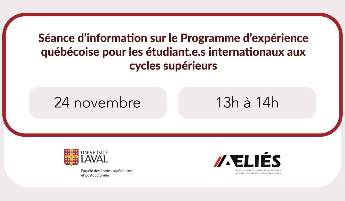 Séance d'information sur  le Programme d'expérience québécoise